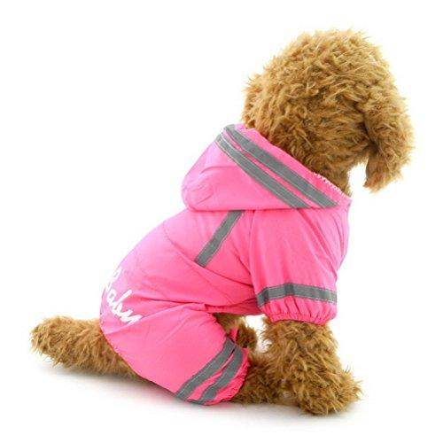 --ZUNEA Small Dog Raincoat Hooded Waterproof Mesh Lined Puppy Slicker Rainwear Doggie Pet Rain Gear/Suit Jacket Jumpsuit Clothing Pink L--