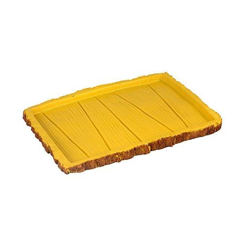 Senzeal Rectangle Resin Reptile Feeder Food Water Dish for Tortoise Lizard Gecko Snake Chameleon Yellow