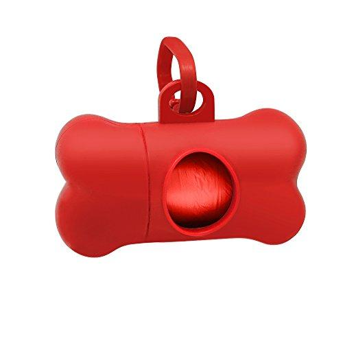 Winstory Bone Dog Cat Poo Waste Dispenser with Bag Scoop Refill Doggy Poop Bags Carrier Clip Red,Bag Random Color