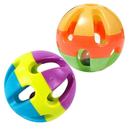 Yunt Colorful Lovely Wobble Wag Giggle Ball Dog Playing Ball Toys with Funny Bell Sound Keeps Dogs Happy All Day(Random Color Sent)