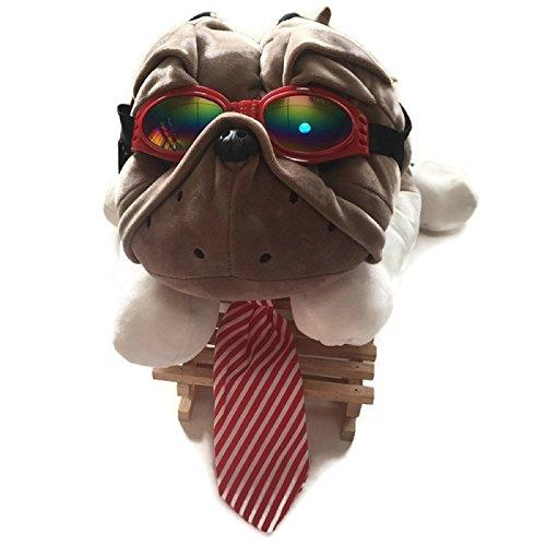 HOT! 1 Set Adjustable Large Dog Striped Cotton Necktie + Dog glasses eye wear waterproof Dog UV Protection Sunglasses Suitable for Photo Props, Outdoor, Costume (S, Red Goggle + Red Necktie)