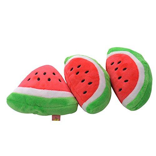 Zrong Cute Small Dog Puppy Pet Chew Play Squeak Squeaky Sound Plush Watermelon Toys Random Size