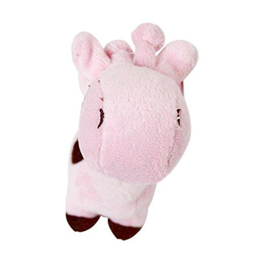 ZX101 Well Love Dog Toys - Chew Toys - 100% Natural Plush Giraffe Shape Toys - Teeth Training Toy size 17cm x 5cm (Pink)
