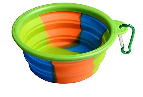 Zero Dog Bowl Flying Saucer Camouflage Cat Toy Folding Portable Out Pet Dog Food Water Silica Gel Bowl Outdoor Travel Accessories Supplies BL-90367,Green