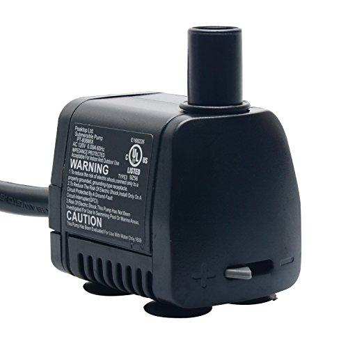 PeakTop 80 GPH Submersible Water Pump with 6' Cord for Aquarium, Fountain Replacement, Statuary, Hydroponic, PT-808MIX UL Listed Comes with 1 Year Limited Warranty