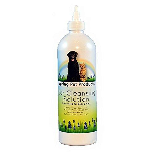 Spring Pet Ear Cleansing Solution for Dogs and Cats Cleans and Dries Ears Your Pet's Ears with Aloe Vera and Vitamins - Pleasant Scent - Gentle and Safe to Use Every Day 16 oz