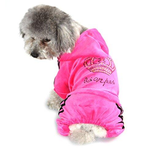 ZUNEA Pet Clothes Apparel for Small Dogs Cats Soft Velvet Crown Jumpsuit Coat Hooide Pajamas Tracksuit Pink XL