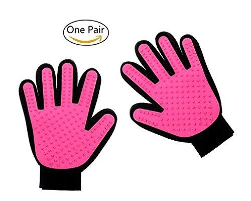 U2Paw Pet Grooming Glove - Gentle Deshedding Brush Glove - Efficient Pet Hair Remover Mitt - Massage Tool (Pink)