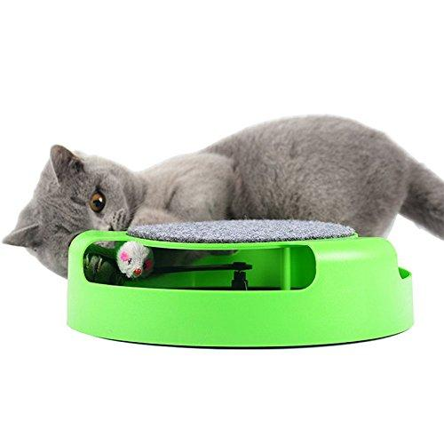 Zehui Cat Interactive Toys with a Running Mice and a Scratching Pad Cat Scratcher Catnip Toy Creative Monolayer Amusement Disk for Cats Pet