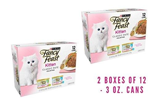 Purina Fancy Feast Kitten Classic Pate Collection Kitten Wet Food - (24) 3 oz. cans (2 BOXES OF 12 - 3 OZ. Cans)