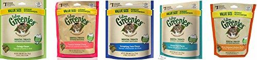 Greenies Dental Cat Treats Variety Pack - (1) of Each of 5 Flavors (Tempting Tuna, Savory Salmon, Ocean Fish, Oven Roasted Chicken, and Catnip Flavor) -5.5 Ounces Each (5 Total Pouches)