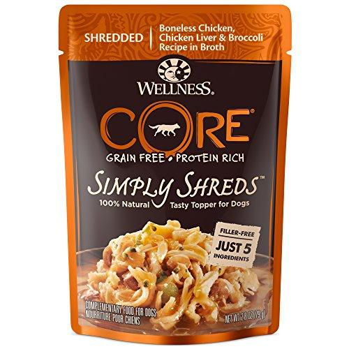Wellness Natural Pet Food 1240 Pouch CORE Simply Shreds Natural Grain Free Wet Dog Food Mixer or Topper, Pack of 12