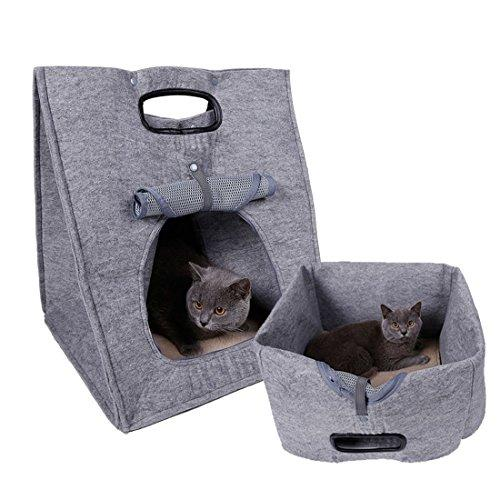 【Pet House Mat】Pet Bed Bag,Folding Portable Wool Felt Cave Bed Walking Travel Bag for Small Pet Cat Dog Rabbit (grey)