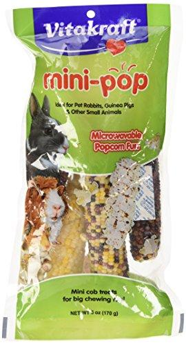 Vitakraft Mini Pop - Microwavable Mini Corn Cob Treats for Pet Rabbits, Guinea Pigs and Other Small Animals, 6.0 Ounce Bag