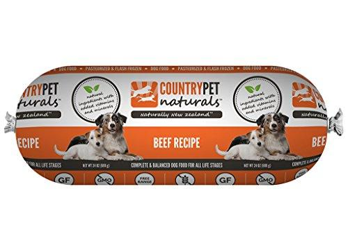 CountryPet Naturals Pasteurized Frozen Dog Food, Beef Recipe (24 lbs Total, 16 Rolls each 1.5 lbs) - Natural Ingredients with Added Vitamins & Minerals - Made in New Zealand