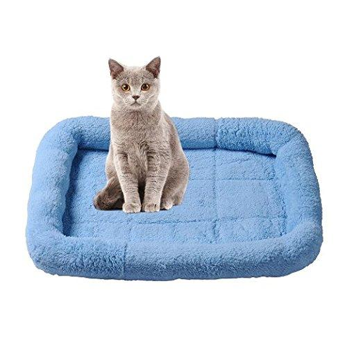 Ltuotu New arrive 4 Colors Fashion Pets Bed Pets Bolster Breathable Dogs Cats Pets Cushion Beds Mats 3 sizes (M, Blue)