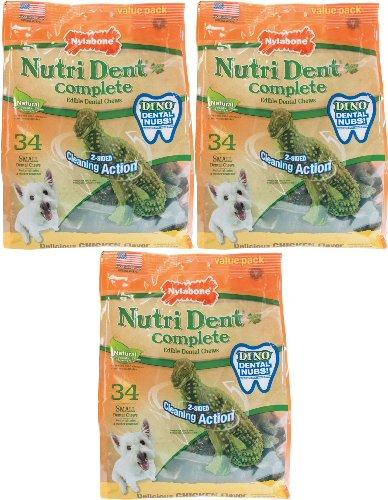 Nylabone Nutri Dent Complete T-Rex Edible Dental Chews Chicken, Small 102ct (3 x 34ct)