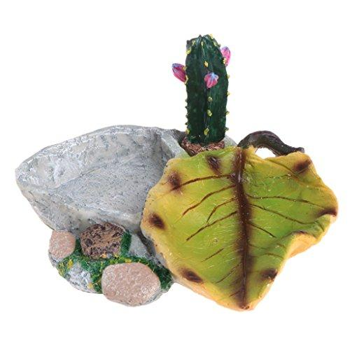 Yumian Aquarium Decorations, Reptile Turtle Feeder Food Water Feeding Bowl Resin Aquarium Ornament Fish Tank