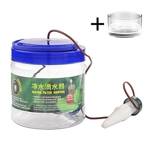 Reptile Water Filter Dripper Drip System Drinking Fountain with Bowl for Chameleon , Lizard and More