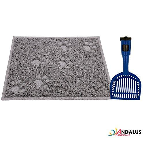 ANDALUS Gray Non-Slip Cat Litter Trap Mat, Small Size (15.75