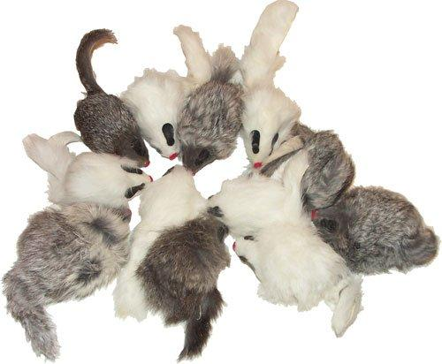 Rattling Long Haired Real Fur Mice, Pack of 12