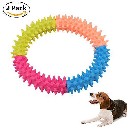 Pet Chewy Ring Toy, Leagway Small Pet Puppy Dog Chew Toy for Teeth Cleaning and Training Playing, Soft Natural Rubber Dental Healthy Teeth Chew Biting Ring Doggie Toy For Dog Cat Pet, 2Pack (4-Color)