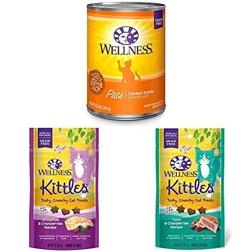 Wellness Natural Grain Free Wet Canned Cat Food, Chicken Pate, 12.5-Ounce Can (Pack of 12) with Wellness Kittles Crunchy Natural Grain Free Cat Treats, 2-Ounce Bag (2 Bag Variety)