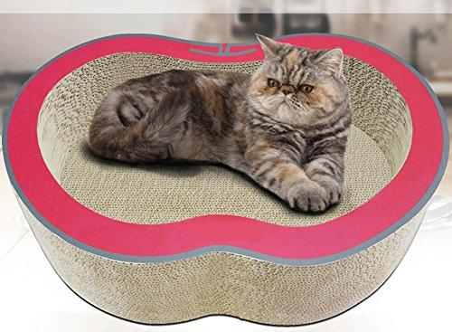 Zero Cat Scratcher Cardboard Toy Cat Bed Cat Scratch Board Cat Toy Multi-Effect One Use More Apple Design Cat Toy Cat Scratchboard With Free Catnip 420x340x150mm MT-175, red