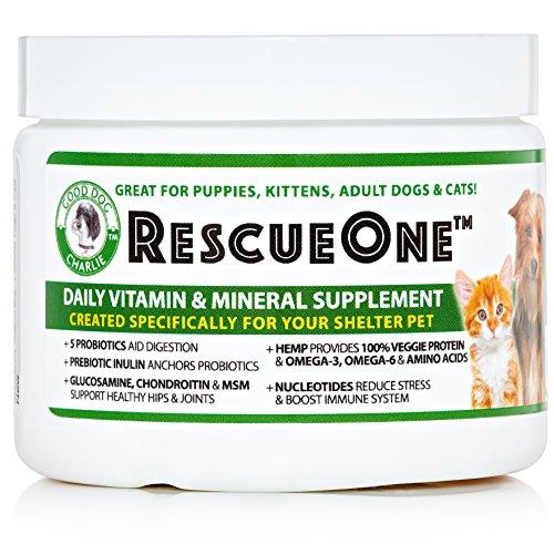 RescueOne Hemp Powder for Dogs & Cats + Probiotics, Nucleotides, Glucosamine, MSM I Natural, Organic Vitamin Supplement
