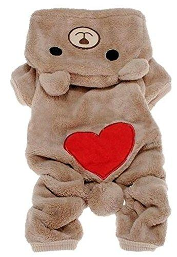 --Zeroyoyo Cute Pet Clothing Dog Puppy Winter Heart Print Bear Style Fleece Hoodies Jumpsuit Hooded Pajamas--