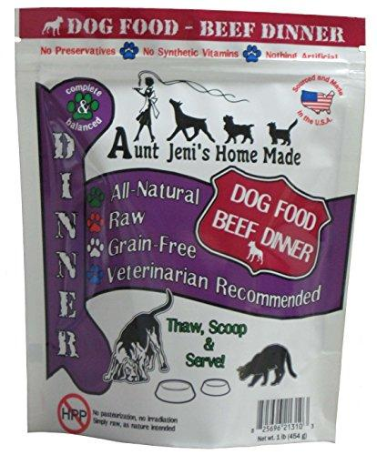 Aunt Jeni's Home Made Frozen Pet Food, Dog Food Beef Dinner, 10 lb.