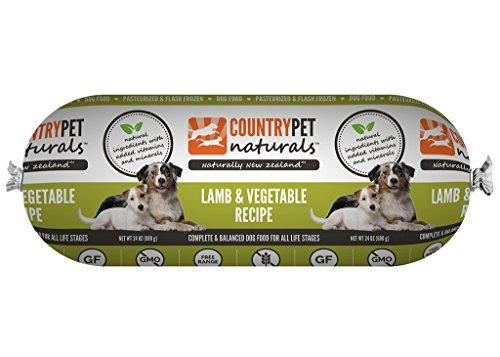 CountryPet Naturals Pasteurized Frozen Dog Food, Lamb and Vegetable Recipe (24 lbs Total, 16 Rolls each 1.5 lbs) - Natural Ingredients with Added Vitamins & Minerals - Made in New Zealand