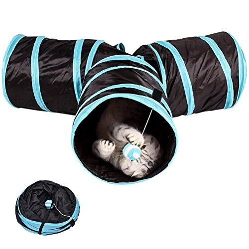 --XIDAJE Prosper Pet Tunnel - Collapsible 3 Way Play Toy - Tube Fun for Small Animals--