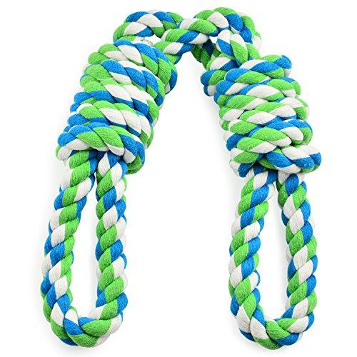 Tug rope for Large Dogs, Tug of war dog toy with 2 Handles Easy for Interaction Between Human and Large Breeds, Adult-Senior, Dental Floss Rope for Dogs' Dental Health