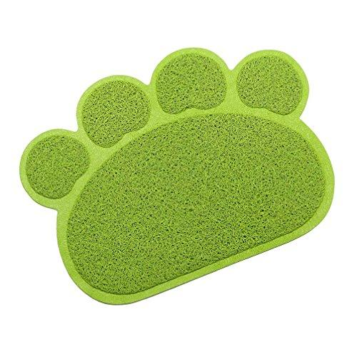 Be Good Pet Mat Food Safe Waterproof Non Slip Feeding Mat Soft Paw Design Dog Bowl Placemat for Food Water Treats Kitty Cat Litter Mat M Green