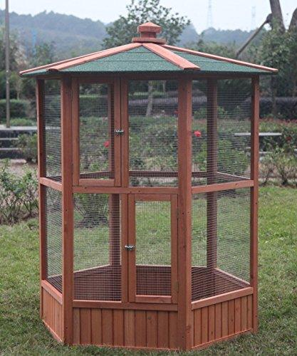 Omitree 6 ft New Wooden Aviary Hexagonal Flight House Cage Ideal for Birds Chipmunks Cat