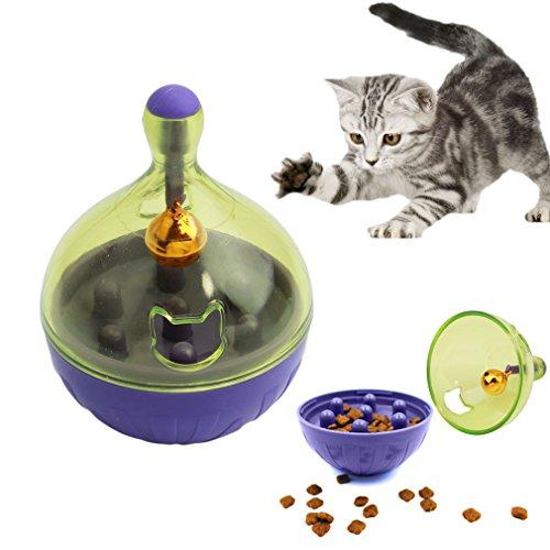 UNKE Pet Snack Dispenser Tumbler IQ Treat Dispensing Toy Food Feeder Pet Wobbler Toy with Metal Bell,Small