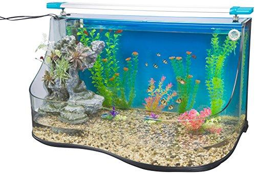 Penn Plax Aqua Terrium Aquarium Water Pool - Two Large Habitats With Cascading Waterfall and Filter Curved Glass Design 9.0 Gallon