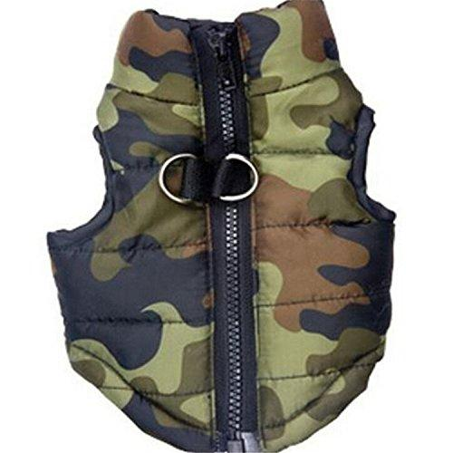 --Zrong Pet Coat Dog Clothes Puppy Camouflage Padded Vest Clothing Sleeveless Coat Jacket--