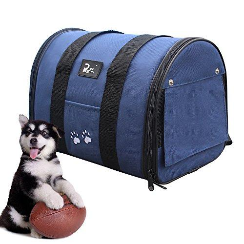 Pet Carrier Soft Sided Two-Tone Pet Bag Airline Approved Car Carriers with Removable Fleece Bedding Perfect for Puppy, Kitty and Small Pet