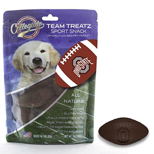 NCAA OHIO STATE BUCKEYES DOG TREATS. Delicious Football Shaped Cookies for Dogs & Cats. Best Dog Rewards. Natural & Healthy Dental Dog Snack.