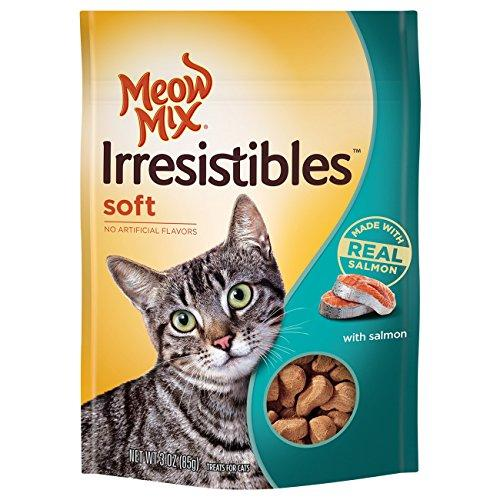 Meow Mix Irresistibles Soft Cat Treats with Real Salmon (Pack of 10), 3 oz.