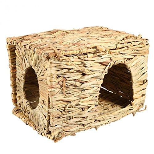 UEETEK Natural Hand-made Grass Hut Bed House Straw Grass Bird Cubby Nest Cage For Bunny Rabbit Hamster Gerbil Chinchillas