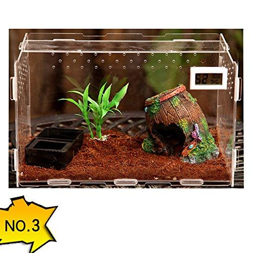 DREAMER.U Transparent Acrylic Terrarium Habitat Breeding Box Set for Lizard Arboreal Tarantulas Snails Chameleon Spider Snake Green Anole or Other Reptiles & Amphibians (#3)