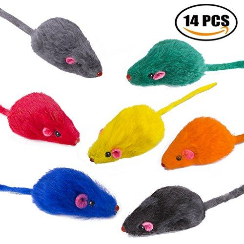 Real Fur Mice Rattle 14 Pack, Cat Toys Rainbow Mice Rabbit Feather for Cats and Kittens by Yangbaga