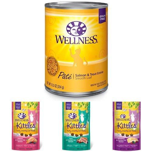 Wellness Natural Grain Free Wet Canned Cat Food, Salmon & Trout Pate, 12.5-Ounce Can (Pack of 12) with Wellness Kittles Crunchy Natural Grain Free Cat Treats, 2-Ounce Bag (3 Bag Variety)
