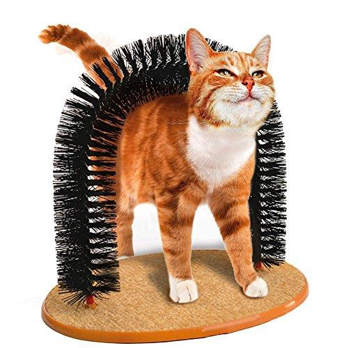 ZJKC 1 PC Durable Cat Scratcher Bristles Purrfect Arch Cat Groom Self Grooming Cat Toy Cat Self Groomer and Massager Pet Cat Arch Bristles Kitten Self-Groomer Massager Scratcher Catnip Toy