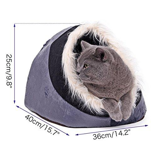 YHUISEN Luxury Fashion Warmer Pet Dog House Dog Bed Cat Cave Bed Dual Use Nest For Small Animal Puppies Rabbits Cats With Thicken Warmer Cushion 4 Styles ( PATTERN : Gray )