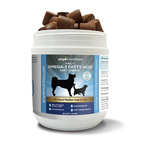 Omega 3 Fatty Acid Soft Chew Treats with Fish Oil | Max Strength | Dog Omega 3 Supplement | For Cats & Small to Med Dogs | For Dry Itchy Skin, Immune, Brain & Joint Health | 60 Soft Chew Treats