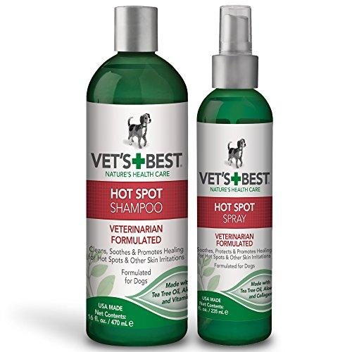 Vet's Best Hot Spot Itch Relief Dog Shampoo, 16 ounce and Hot Spot Itch Relief Spray for Dogs, 8 ounce